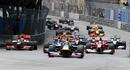 Mark Webber leads team-mate Sebastian Vettel into the first bend