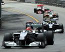 Michael Schumacher leads team-mate Nico Rosberg