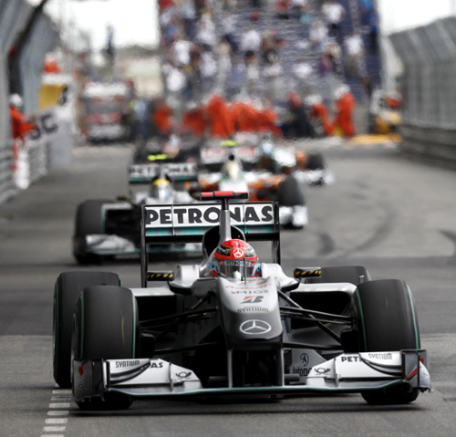 Michael Schumacher leads team-mate Nico Rosberg