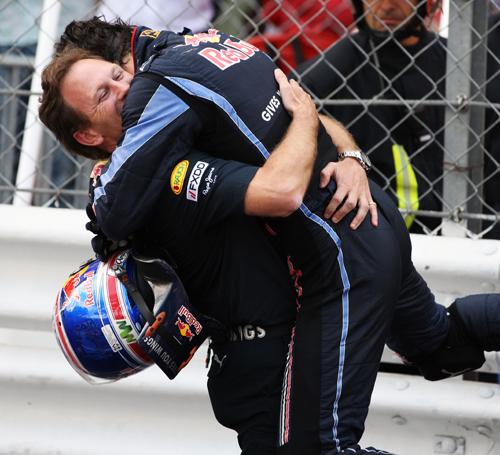 Mark Webber and Christian Horner celebrate