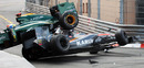 Jarno Trulli's Lotus and Karun Chandhok's HRT collide