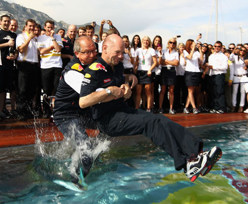 Adrian Newey is thrown in the Red Bull swimming pool