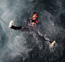 Mark Webber jumps in the Mediterranean