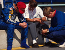 A distraught Nigel Mansell after stalling within a lap of victory