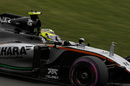 Sergio Perez at speed in the Force India