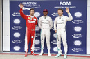 The top three acknowledge the crowd after qualifying