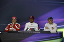Lewis Hamilton, Sebastian Vettel and Valtteri Bottas in the press conference after the race