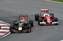 Daniel Ricciardo and Sebastian Vettel battle for a position
