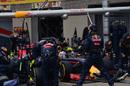 Daniel Ricciardo makes a pit stop during the race