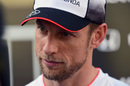 Jenson Button talks to media