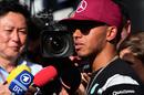 Lewis Hamilton faces the press on Thursday