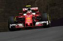Kimi Raikkonen on track with soft tyres