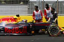 Daniel Ricciardo hits the wall