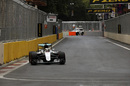 Lewis Hamilton approaches a corner