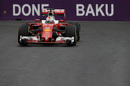 Sebastian Vettel at speed in the Ferrari