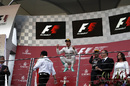 A delighted Nico Rosberg jumps for joy