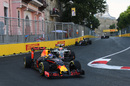 Max Verstappen rounds the apex in the Red Bull