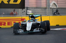 Nico Rosberg at speed in the Mercedes