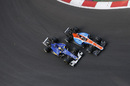 Pascal Wehrlein and Marcus Ericsson fight a position