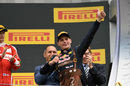 Max Verstappen celebrates on the podium