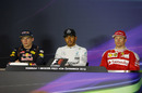 Top 3 drivers face media in the press conference after race
