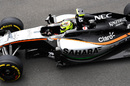 Sergio Perez on a soft tyre run