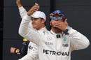Lewis Hamilton celebrates his pole in parc ferme