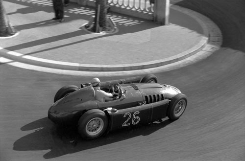 Alberto Ascari guides his Lancia through the Station Hairpin