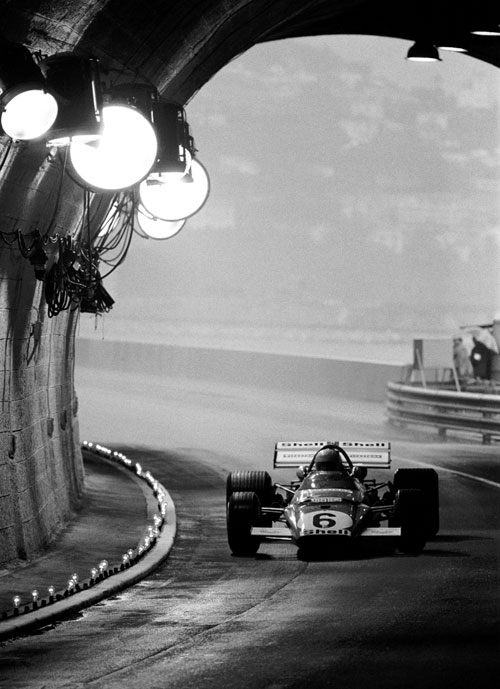 Mario Andretti heads through the specially lit tunnel at Monaco