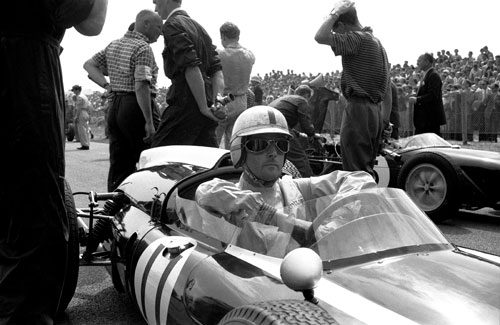 Jack Brabham on the grid before the start of the Dutch Grand Prix