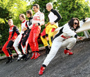 Drivers pose on the famous Monza banking ahead of the Formula Two weekend