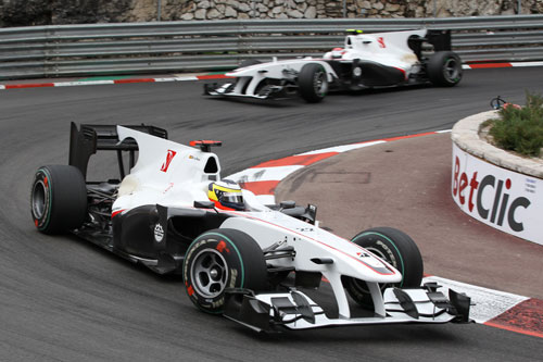 Pedro de la Rosa leads team-mate Kamui Kobayashi during the Monaco Grand Prix