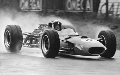 Jackie Stewart on his way to winning the Dutch Grand Prix