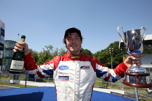 Britain's Jolyon Palmer celebrates winning race 1 of the Formula Two Championship in Monza