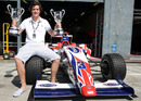 Jolyon Palmer celebrates victory in both the weekend's Formula Two Championship races in Monza
