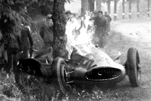Dick Seaman car blazes after the crash that killed him