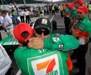 Tony Kanaan hugs a member of his crew after qualification for the Indianapolis 500
