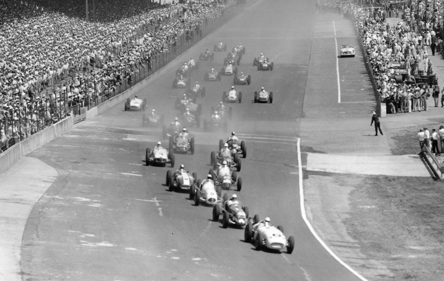 Bill Vukovich leads the cars away at the start of the 1955 Indianapolis 500