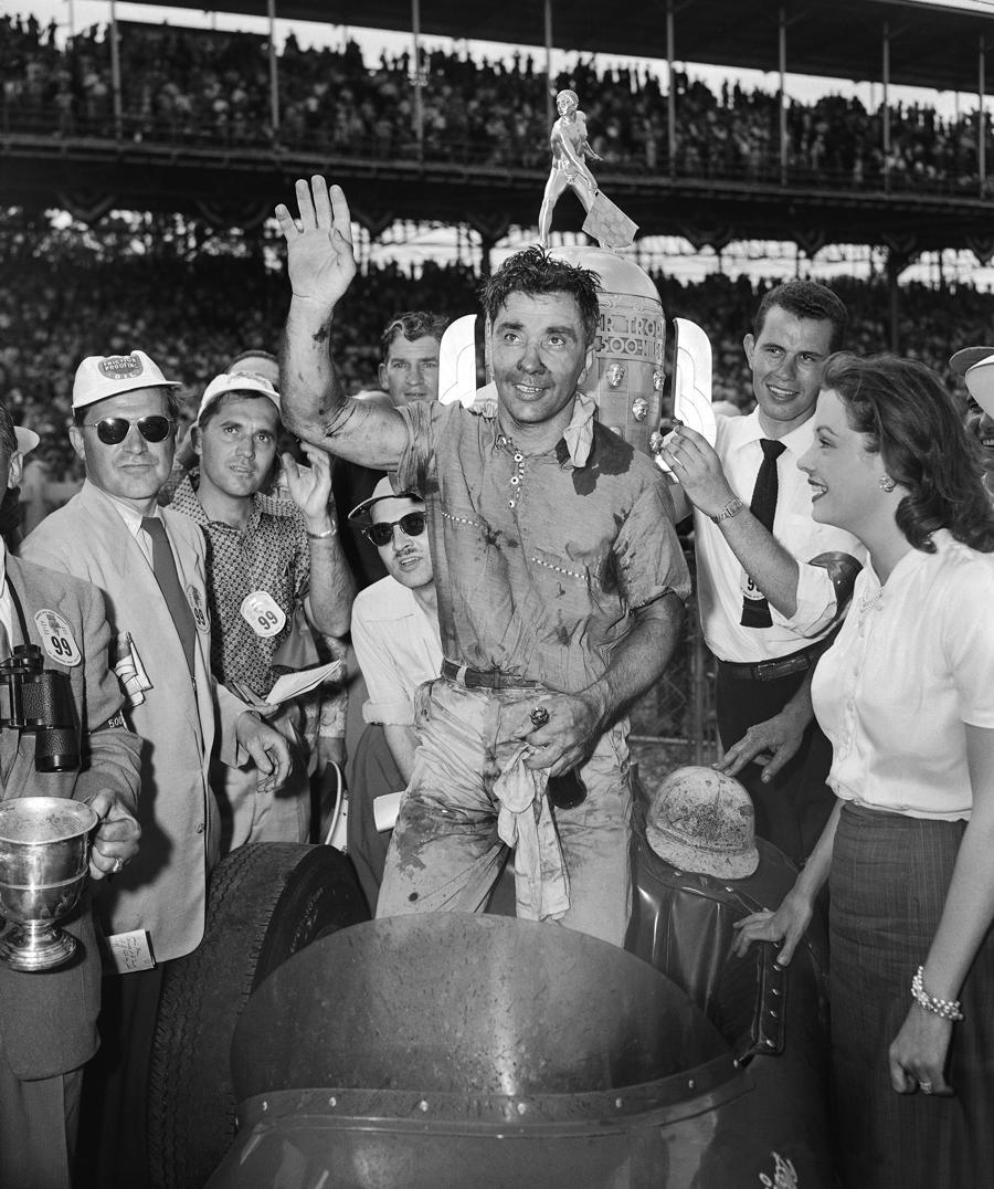 Bill Vukovich celebrates his win at the 1953 Indianapolis 500