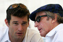 Mark Webber speaks to Jackie Stewart in the build-up to the 2005 US Grand Prix