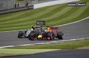 Daniel Ricciardo and Sergio Perez battle for a position