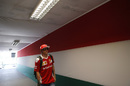 Kimi Raikkonen arrives at the curcuit