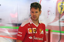 Sebastian Vettel at the garage
