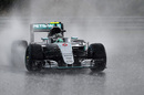 Nico Rosberg on wet tyre in heavy rain