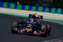 Carlos Sainz works hard to keep his pace