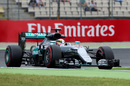 Lewis Hamilton on track in the Mercedes