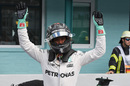 Nico Rosberg celebrates his pole in parc ferme