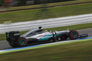 Lewis Hamilton at speed in the Mercedes