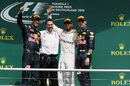 Top 3 drivers acknowledge the crowd during a podium ceremony