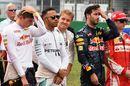 Max Verstappen, Lewis Hamilton. Nico Rosberg and Daniel Ricciardo on the grid